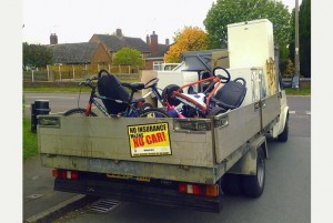 .The scrap van which was seized by police in Eccleshall..